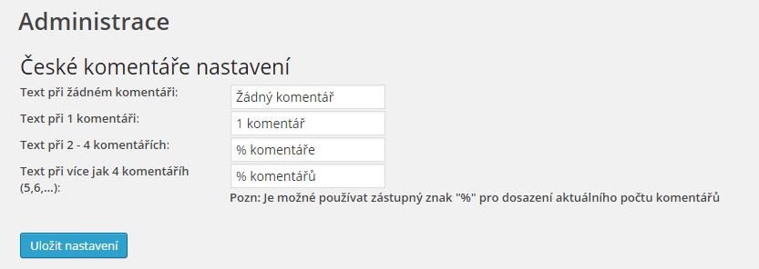 České komentáře - plugin do WordPressu