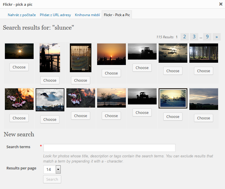 WordPress plugin - Flickr - pick a pic