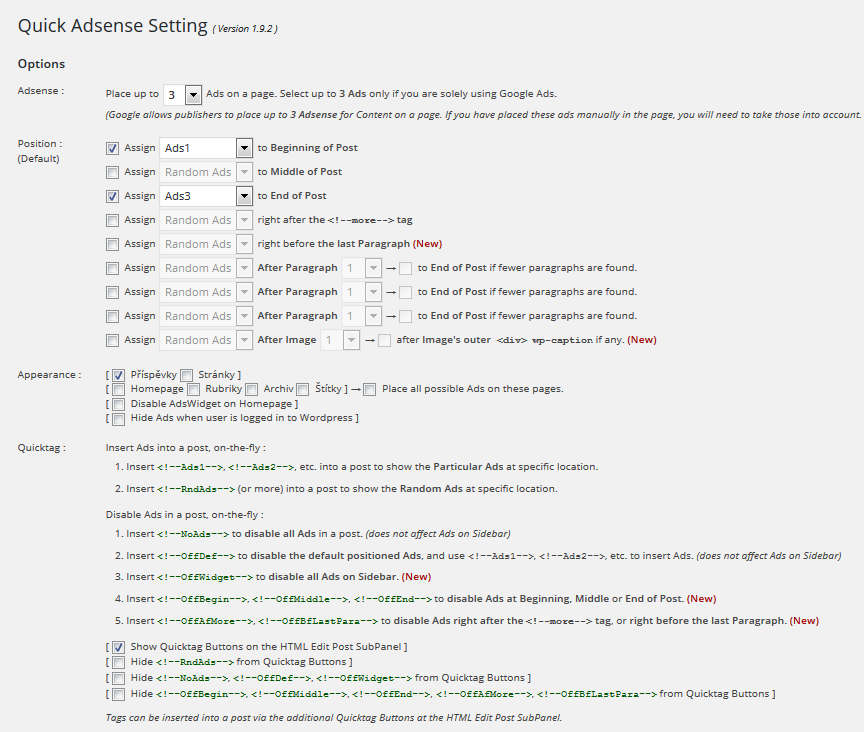 plugin Quick Adsense - nastavení