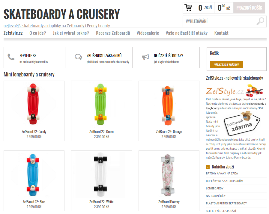 E-shop Zefstyle - skateboardy a cruisery