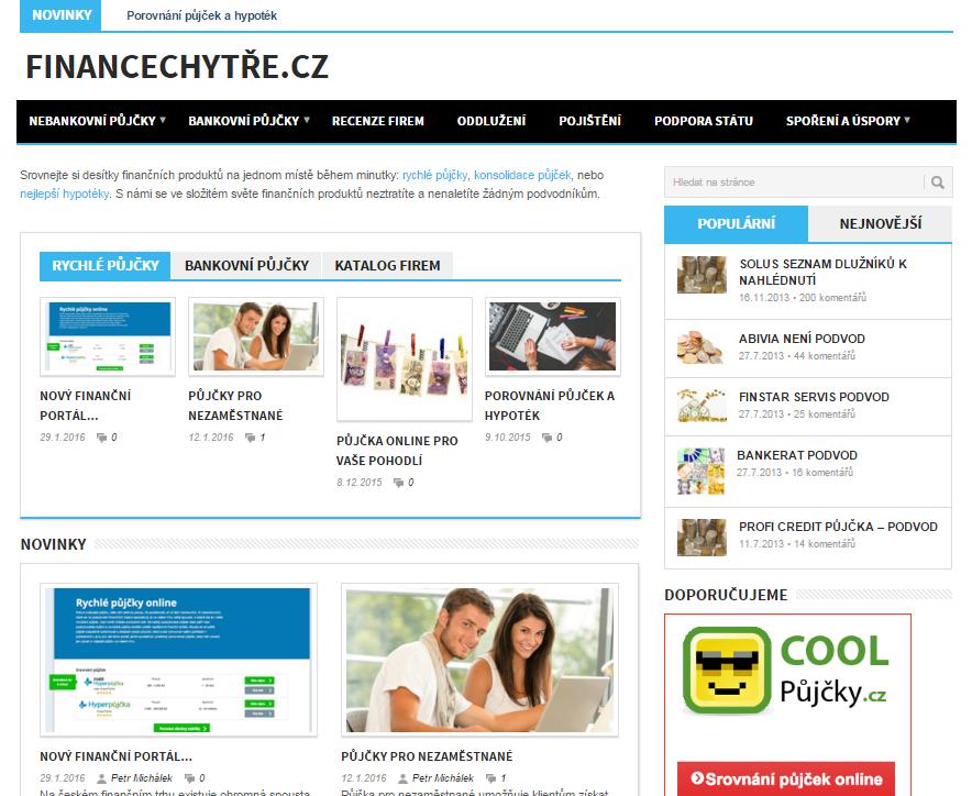 FinanceChytre.cz - hlavní strana