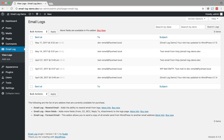 Wordpress plugin Email Log ukazka