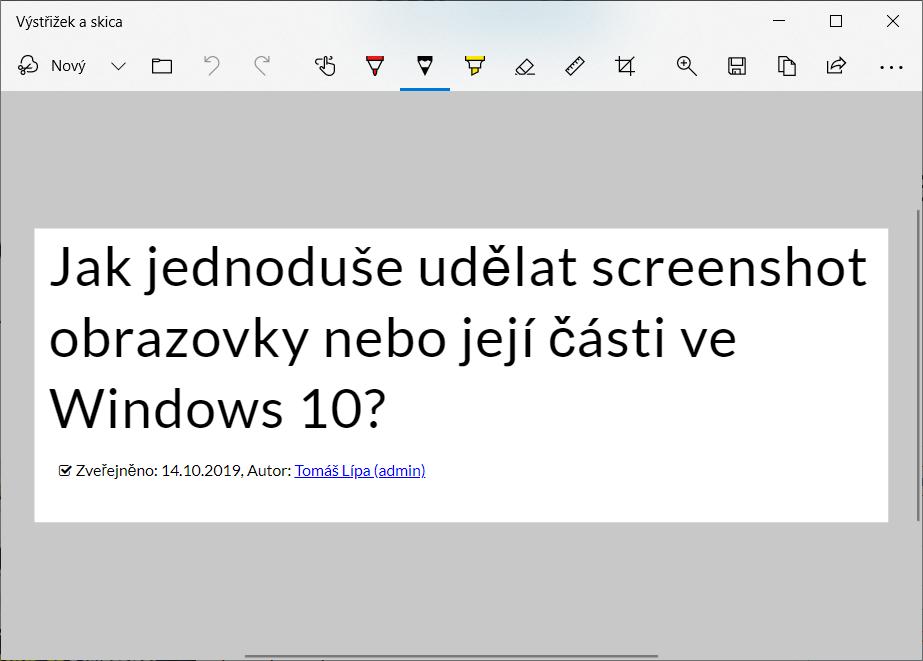screenshot obrazovky nebo její části ve Windows 10 výstřižek a skica