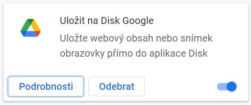 Rozsireni do Google Chrome Ulozit na Disk Google
