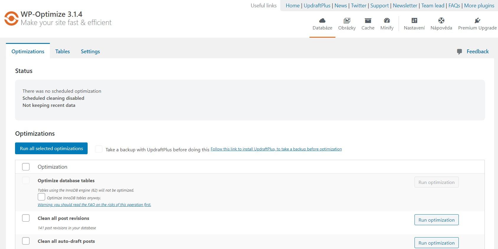 WordPress plugin WP Optimize
